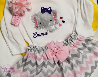 Elephant Outfit Baby Girl and Personalized  for free, Baby girl shower gifts, baby girl birthday gifts, Free hair bow, Made in Newborn to 4T