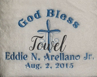 Christening TOWEL, Baptism TOWEL, Religious Towel , Baby baptism towel for the ceramony
