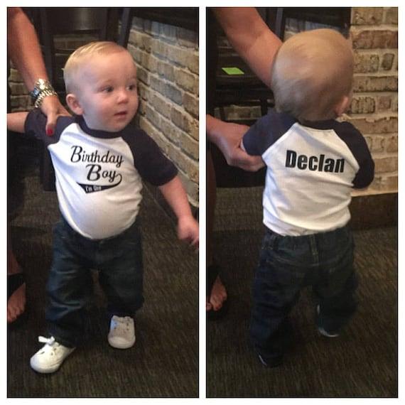 Baby Boys First Birthday Shirt 1st Jersey ShirtBoys Raglan ShirtPersonalized