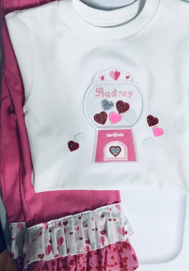 top Valentines day Outfit Girls gumball machine outfit Girls Candy tee Toddler gumball outfit personalize for free ruffled style pants