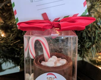 Elf on the shelf chocolate cocoa mug with micro marshmallow and candy cane