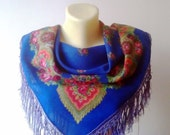 Vintage Russian Shawl Blue Cobalt Shawl Bohemian Shawl Floral Russian Shawl Russian Wool Headscarf Russian Traditional Shawl Rustic Chic
