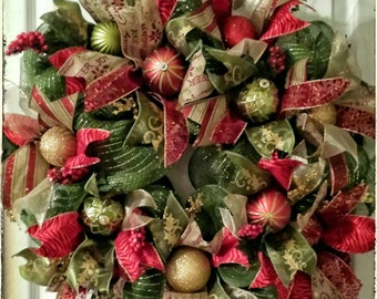 Best Seller!  Funky Christmas Wreath, Christmas Door Wreath, Holiday Wreath, Traditional Wreath, Christmas Decoration, Door Wreath
