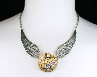 Gold Antique Pocket Watch Movement Necklace Silver Wings Vintage Retro