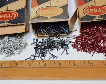 vintage upholstery tacks / flat head nails - box of Cross sterilized tacks: red and silver