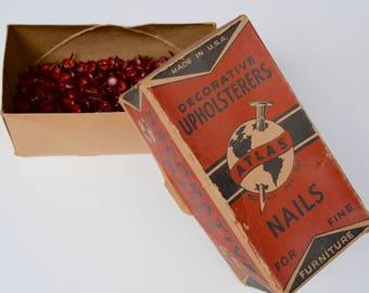 vintage upholstery tacks / decorative nails: box of red and black nailhead trim, 475 tacks, Atlas brand