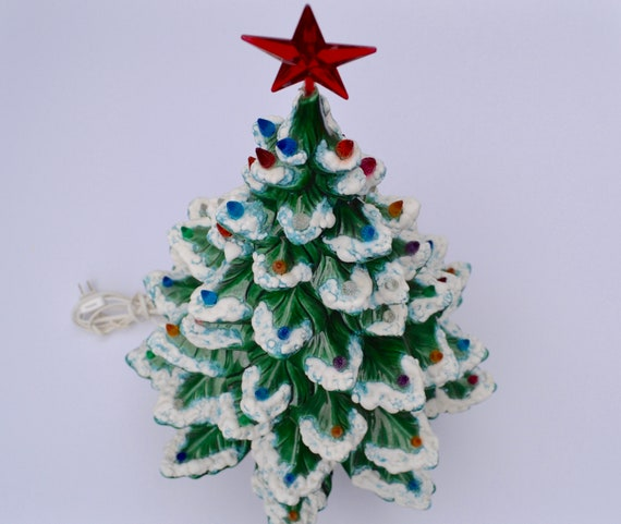 Vintage Ceramic Christmas Tree Atlantic Mold.Vintage Large Ceramic Christmas Tree Atlantic Mold Musical Frosted Christmas Tree