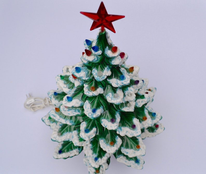 Vintage Large Ceramic Christmas Tree Atlantic Mold Musical Frosted Christmas Tree