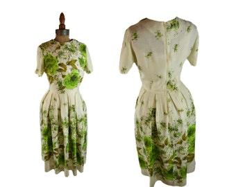 1960s dress - vintage floral shirtwaist dress