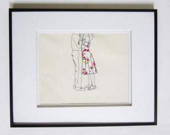 Framed Original Embroidery 'Couple Dancing' by Sarah Walton