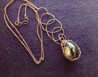 Twin Spirit: Copper and Spiderweb Jasper Egg necklace