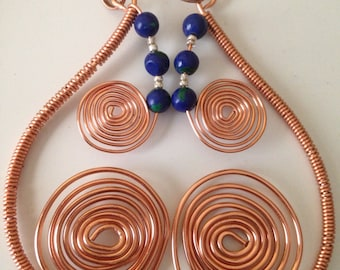 Spiral Godis Earrings  Lapis and Malachite Beads with Copper Healing