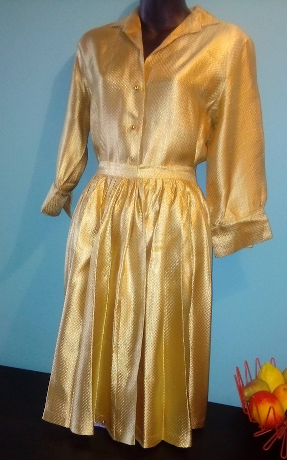 1950s Gold Dress 50s Gold 2 Piece 50s Cocktail Dre