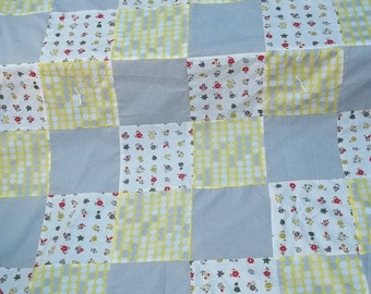 Yellow Gray Blanket Quilt Throw Polka Dots Vintage Flowers Plaid Cottage Chic Reversible