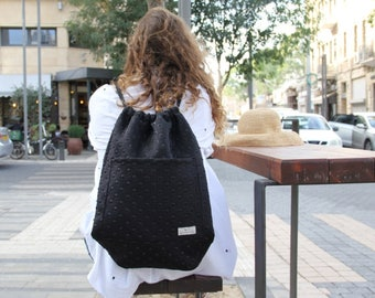 Drawstring backpack with pockets, Black Drawstring backpack, Dance Backpack, Lightweight backpack, Drawstring backpacks