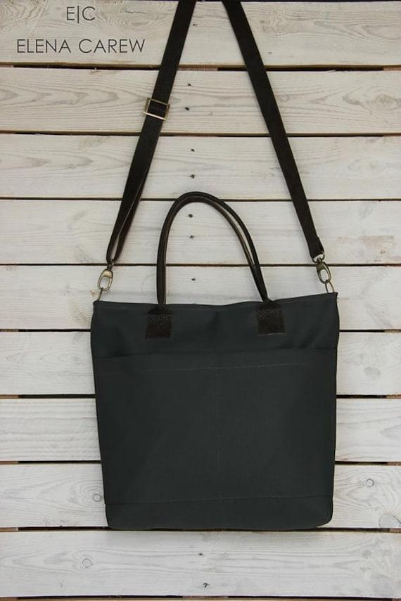 Black Tote Bag Canvas Large bag with pockets Black Work Bag  b53c8b46f