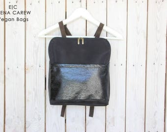 Black Vegan Leather Backpack, Black Backpack not leather, Vegan backpack puese for women, patent leather backck black