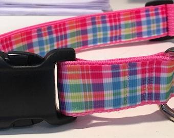 "Summer Plaid pink, white, aqua, light blue, pink, green, yellow with pink webbing Dog Collar, custom, blue, large dog, medium dog, 1"","