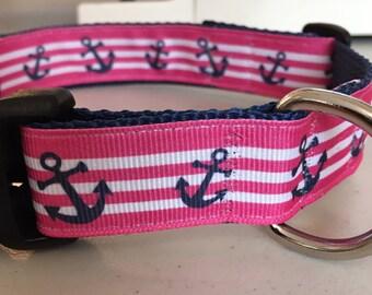 "Pink and White stripes with blue anchors Dog Collar, custom, blue, large dog, medium dog, 1"""