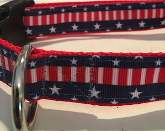 """1"""" 4th of July Dog Collar, Independence Day, Summer, Red, White Blue"""