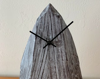"""Wood """"Arrowhead Clock"""" with scorched and limed finish"""