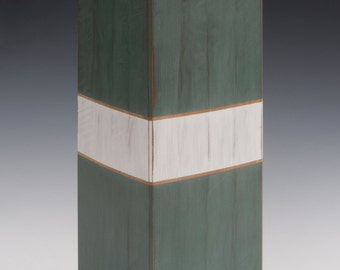 Textured and painted tall wood box with lid