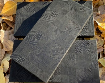 """Patterned Wood """"Motif"""" Cheese Board of scorched, end-grain ash"""