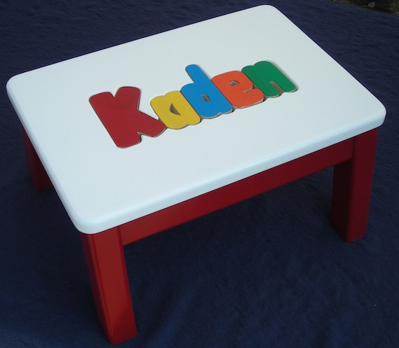 Marvelous Wooden Personalized Wooden Name Puzzle Step Stool Primary Colors Ocoug Best Dining Table And Chair Ideas Images Ocougorg