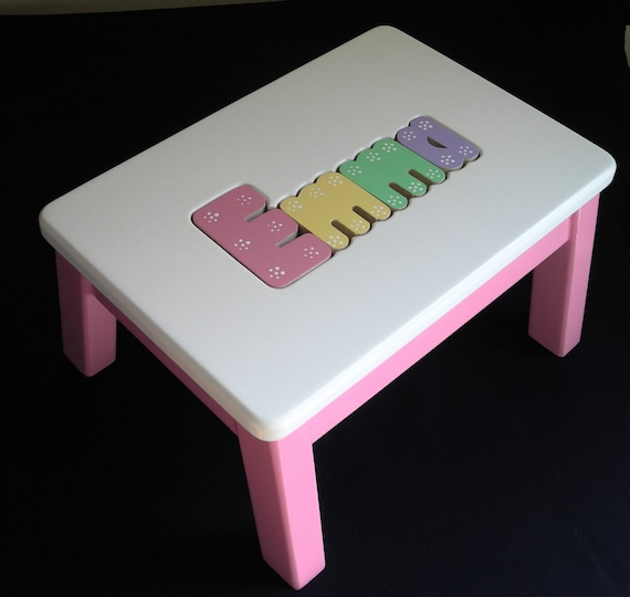 Cool Wooden Personalized Wooden Name Puzzle Step Stool Hot Pink Ocoug Best Dining Table And Chair Ideas Images Ocougorg