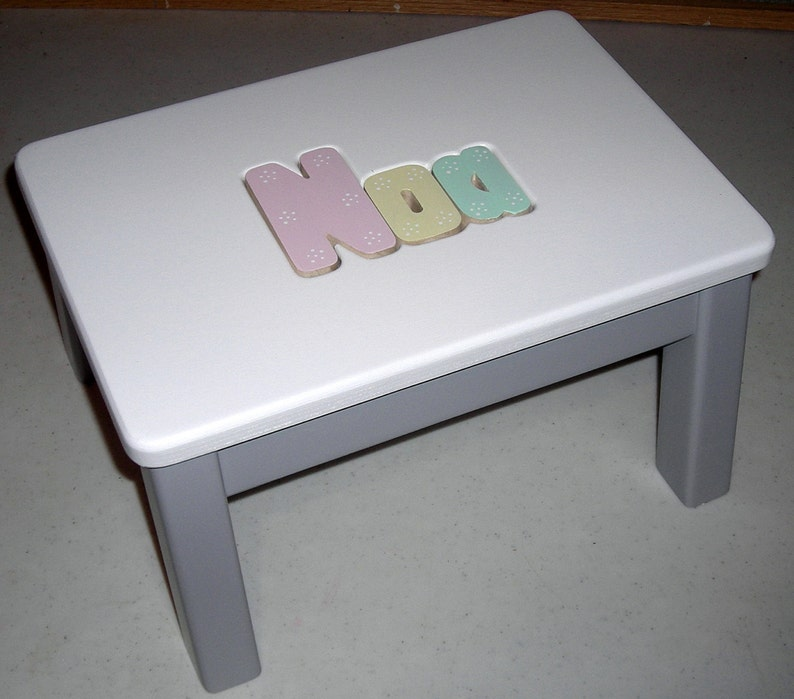 Groovy Wooden Personalized Wooden Name Puzzle Step Stool Grey Bottom And Pastel Color Letters Caraccident5 Cool Chair Designs And Ideas Caraccident5Info