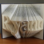 Monogrammed Custom Name Folded Book  Unique Personalized Gift - Your Name Here - Birthday Baby Gift - Wedding Present - Custom Made Book Art
