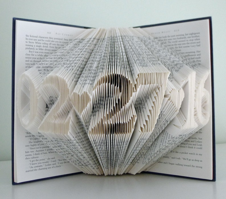 Folded Book Art Anniversary Gift For Him Her Wedding Date