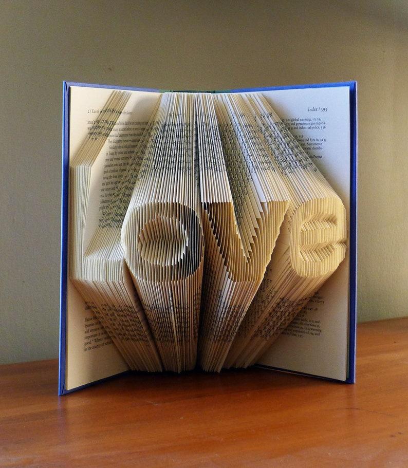 Folded Book Art  Unique Wedding Gift  Decoration  LOVE  image 0