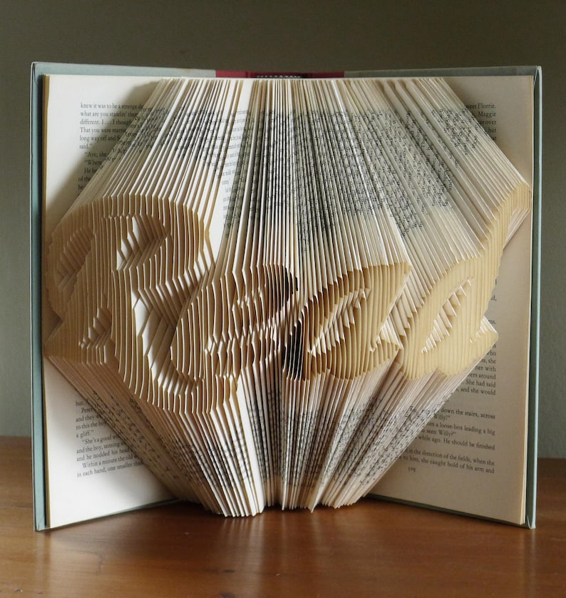 Folded Book Art  Gifts for Book Lovers   READ  Altered Book image 0