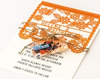 Floral Destination Wedding Invitations - Destination Wedding Colorful Mexican Fiesta Papel Picado Wedding Invitation (Helena Suite)