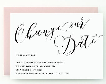 Blush Wedding Change the Date - Modern yet timeless, stylish, chic and sophisticated calligraphy, (Julie Suite)