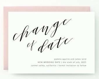 Blush Wedding Change the Date - Modern yet timeless, stylish, chic and sophisticated calligraphy, (Pamela Suite)