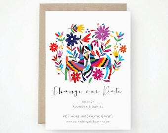 Destination Wedding Change the Date - Modern, stylish, chic and sophisticated calligraphy, (Alondra Suite)