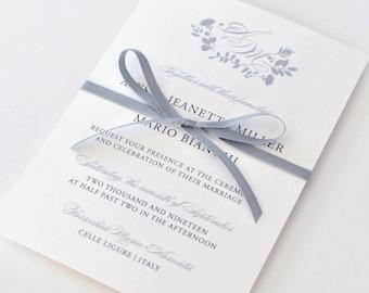 Elegant, Floral Wedding Invitations - Classic Calligraphy Script Wedding Invites (Alyssa Suite)