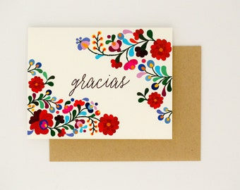 Floral Destination Wedding Thank You Cards - Gracias - Colorful Mexican Embroidery Inspired – Summer Wedding Card (Rachel Suite)