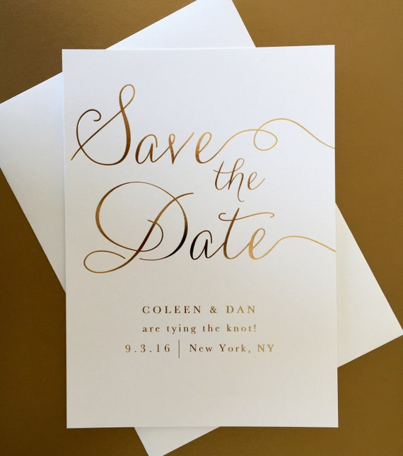 gold foil wedding save the date modern elegant classic etsy