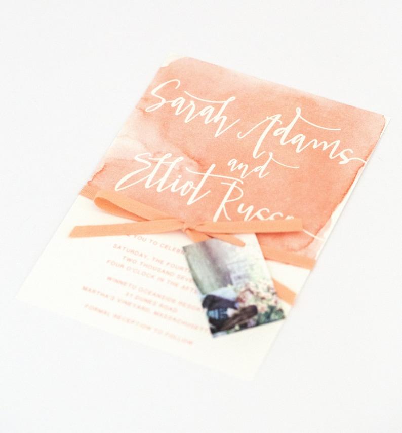 5c25a389c9189 Watercolor Wedding Invitations - Coral Ombre Modern Design with Unique  Watercolor Pattern Wedding Invitation (Sarah Suite)
