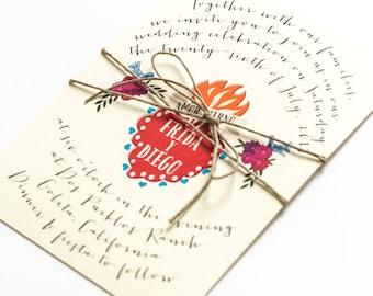 Destination Wedding Invitations - Mexican Corazon Sacred Heart – Summer Wedding Invitation (Frida Suite)