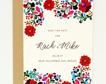 Floral Destination Wedding Save the Dates - Colorful Mexican Embroidery Inspired – Summer Wedding Save the Date (Rachel Suite)