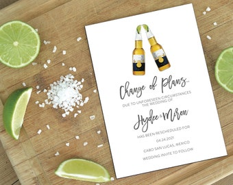 Destination Wedding Change the Date - Modern, stylish, chic and sophisticated calligraphy, (Hydee Suite Change The Date)