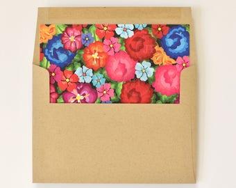 Floral Envelope Liner & Envelope - Colorful Oaxaca Embroidery Inspired – Modern - Hacienda Destination Wedding Envelope Liner (Carley Suite)