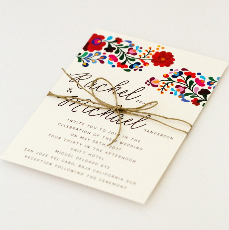 Floral Destination Wedding Invitations  Colorful Mexican image 0