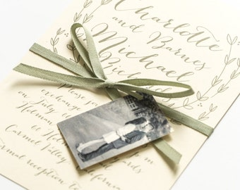 Modern Wedding Invitations - Calligraphy Style, Intimate Romantic Timeless Outdoor Wedding Invitation (Charlotte Suite)