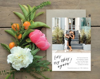 Destination Wedding Photo Change the Date - Modern, stylish, chic and sophisticated calligraphy, (Pamela Suite)
