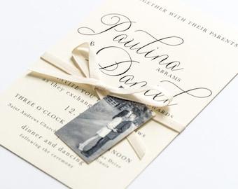 Beautiful Wedding Invitations - Modern, Elegant, Classic, and Simple - Calligraphy Script Wedding Invitation (Paulina Suite)